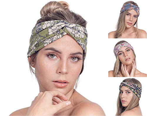7e8bf84db4aac3 Osattia 4 Stück Damen Boho Stirnband Elastisches Haarband böhmisches Blume  gedruckt Stirnbänder Knoten Verdrehtes Breites Dehnbares
