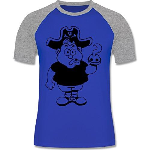 Piraten & Totenkopf - Piraten - zweifarbiges Baseballshirt für Männer Royalblau/Grau meliert