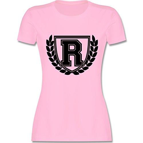 Anfangsbuchstaben - R Collegestyle - tailliertes Premium T-Shirt mit Rundhalsausschnitt für Damen Rosa