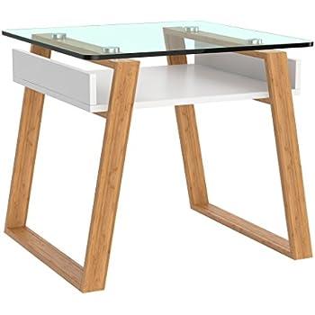 bonVIVO Petite Table Basse d\'appoint Pablo, Table Basse Tendance, Table  d\'appoint pour Salon, Jardin, Bureau, Table Bout de canapé en Verre et Bois