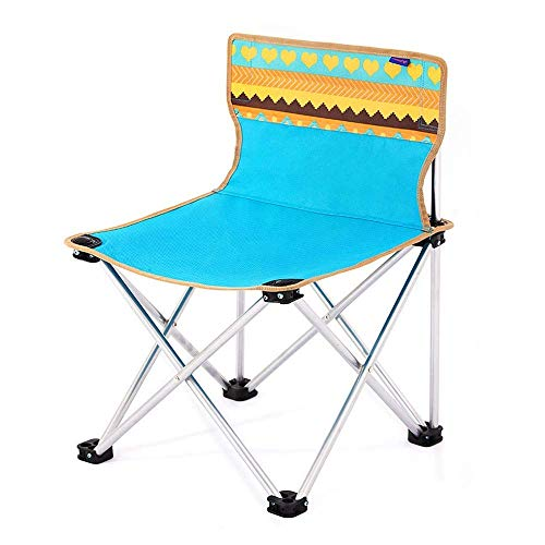 MJY Blau Gedruckt Oxford Tuch Klappstuhl Outdoor Tragbare Camping Angeln Stuhl Picknick Skizze Stuhl Hocker Strand Liegestuhl (Load Bearing80Kg) Büro/Klein