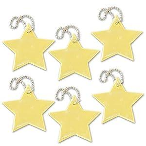 funflector Reflektor-Anhänger – Stern – für Jacken, Rucksäcken, Taschen, Kinderwagen und Rollstühlen
