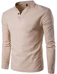 5077d02c0c3a MODCHOK Herren Shirt Langarm Shirt Henley Hemd Leinen T-Shirt Long Sleeve  V-Ausschnitt