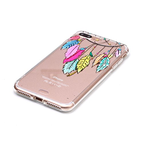 iPhone 7 Plus Transparente Etui, iPhone 7 Plus Coque, Très Mince Fine Souple Flexible TPU Gel Silicone Anti-rayures Anti Choc Case pour Apple iPhone 7 Plus 5.5 inch - Plumage Windbell Motif color-10