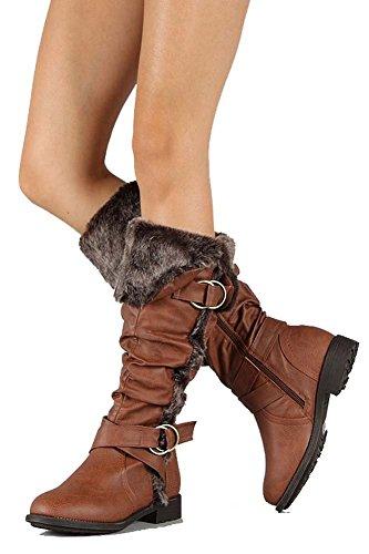 fourever Funky Mujer Piel vegana Furry Puño rodilla Slouch Rider Botas, color Marrón, talla 38,5 EU (M)