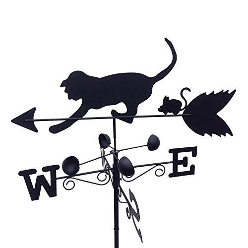 Veleta de acero con diseño de gato y ratón Garden Market Place