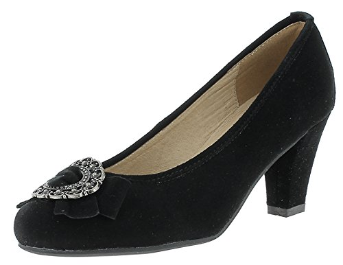 HIRSCHKOGEL Damen Pumps 0594453 | Blockabsatz High Heels | Damenschuhe Mary Janes | Samt Velours Glitzer | Spangenpumps | Trachtenschuhe | Drindlschuhe | Oktoberfest, Farbe:schwarz, Größe:39 EU