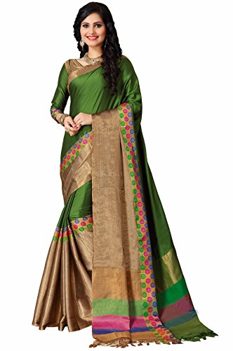 Miraan Women's Printed Handloom Cotton Party wear Saree with blouse