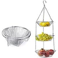 Chutoral 3 capas colgante cesta de frutas, soporte de alambre para colgar flores, cesta de almacenamiento simple, cesta de almacenamiento para el hogar, adecuado para cocina, baño, jardín.