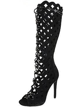 High Heel Sandaletten Damenschuhe Plateau Pfennig-/Stilettoabsatz Sommer Stiefel Reißverschluss Ital-Design Sandalen...