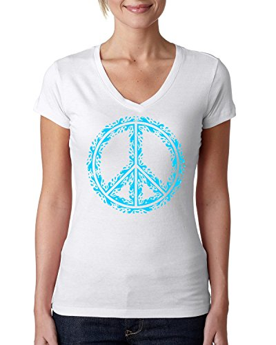 Water splash peace sign dope Women's V-Neck T-Shirt Large (Frauen Blue Peace T-shirt Sign)
