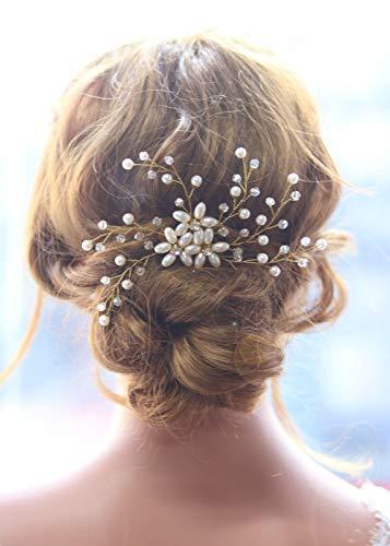 Gracewedding Braut Kristall und Strass Gold Blume Nachahmung Perlen Haar Kamm Hochzeit Kopfschmuck-Hochzeit Strass Haarschmuck Haarschmuck für Braut und Brautjungfern -