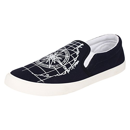 World Wear Footwear Men's Canvas Black Loafers & Mocassins Casual Shoes-6  available at amazon for Rs.198
