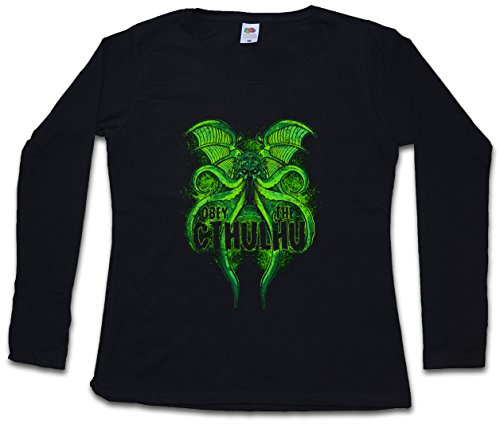 Obey The Cthulhu Woman Donna T-Shirt A Manica Lunga - Taglie S - 5XL Nero