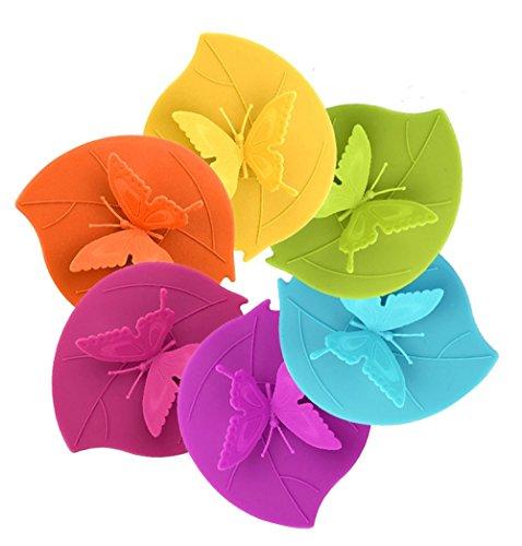 Iphox coperchi in silicone per alimenti per tazze, fantasiosi, anti-polvere e con chiusura ermetica, silicone, set of 6 colors, butterfly(4.13 * 4.92'')