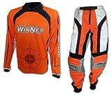 WinNet Completo tuta maglia e pantaloni da cross motard arancione, Taglia: M