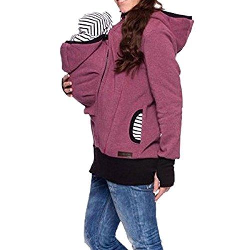 Aiffer Damen Sweatshirt Tragejacke für Mama und Baby 3in1 Känguru Jacke Mutterschaft Kapuzen Multifunktions Frauen Baby Wearing Fleecepullover Umstandsjacke. (Mutterschaft-jacke)