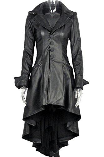 Longue manteau noir imitation cuir avec sangles au dos et capuche gothique rock - S