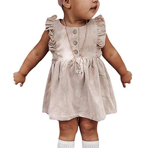 OIKAY Kleinkind Baby Mädchen Kleid Drucken Süß Kleider Ärmellos Tüll Tütü Urlaub Prinzessin Sommerkleid Outfit Kleidung