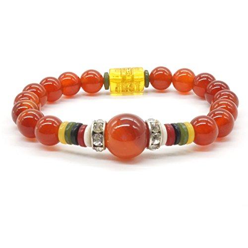 Bracelet en Agate Rouge Yoga Bracelet en Pierres Semi-précieuses pour les Filles Bracelet Élastique pour Méditation
