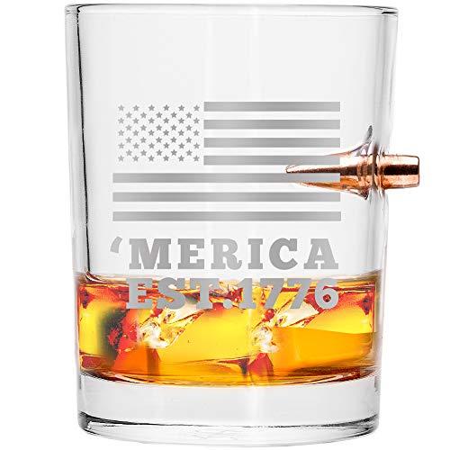 .308Real Bullet aus mundgeblasenem Whiskey Glas-'Merica Est. 1776 (Real Shot Glas)
