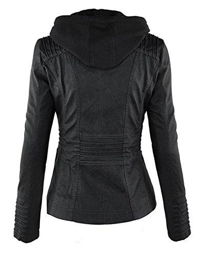 Donna Giacche Giacca in Pelle Manica Lunga Zip Moto Giubbotto Cappotti con Cappuccio Nero