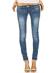 Bestyledberlin pantalon en jean femme, jean skinny taille basse j03i