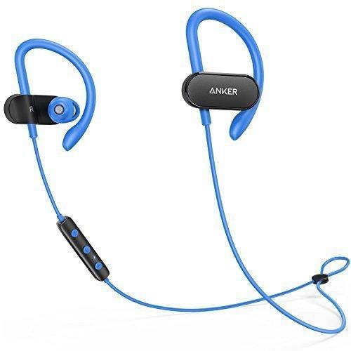 Anker SoundBuds Curve Bluetooth Kopfhörer Bluetooth 4.1 Sport Kopfhörer mit Ohrbügeln/Wasserschutzklasse IPX5/14-Stunden-Spielzeit/CVC Lärmreduzierung/Mikrofon/Etui, Lauf-Training Headset(Blau)