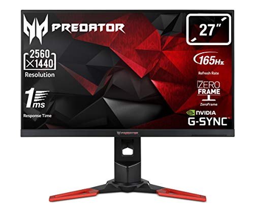 "Predator XB271HUAbmiprz Monitor Gaming G-Sync da 27"", Display 2K QHD(2560 x 1440), 165 Hz, 16:9, 350 cd/m2, 1 ms, HDMI, DP, USB3.0, Audio OutSpeaker Integrati, Regolazione di Altezza, Pivot, Nero"