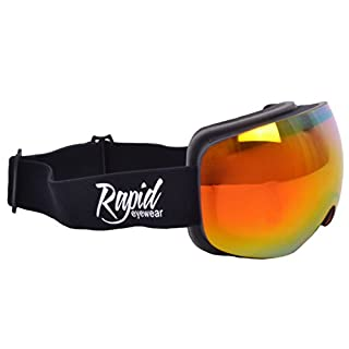 Rapid Eyewear Arosa SKI & SNOWBOARD GOGGLES for Men and Women. Double Spherical Mirror Anti-Fog Lens. UV400 Protection. Black Adult Size Snow Goggle