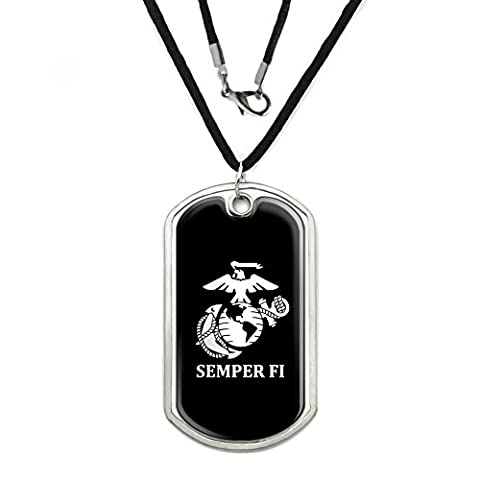 Marine Corps USMC Semper Fi Black White Logo Officially Licensed Military Dog Tag Pendant with Cord