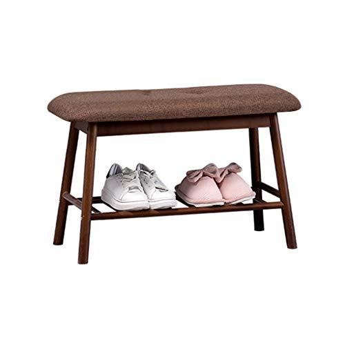 Panca per ripostiglio scarpiera con cuscino sedile marrone | sgabello da letto in stile nordico per corridoio da letto poltrona imbottita da letto in legno sgabello per scarpe in bambù - 60x30x45cm