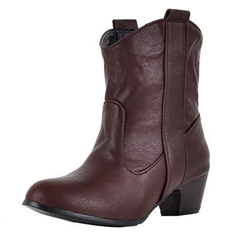 Stiefel Damen Sunnyadrain lässig Vliese Reine Farbe Spike Heels Knöchel PU Dick Herbst Winter Schuhe Wedges High Heel Stiefeletten für Frauen
