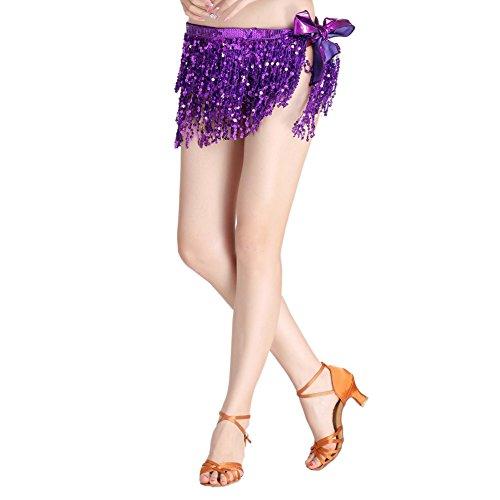 Loveble Mesdames Danse du Ventre Paillettes Soutien-gorge une taille Femmes Danse Latine Gland Costume de Soutien-gorge Violet B