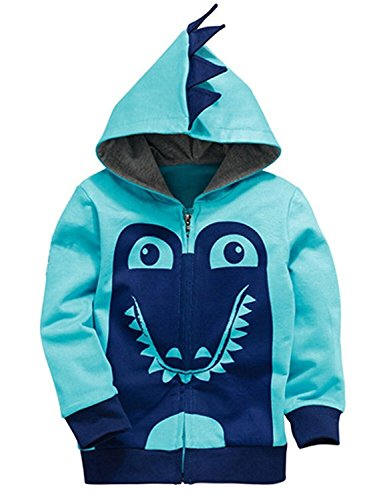 Garsumiss Kids Hooded Jungen Pullover Dinosaurier Sweat Shirt Headwear Jacke (Zip Front Kapuzen-strickjacke)