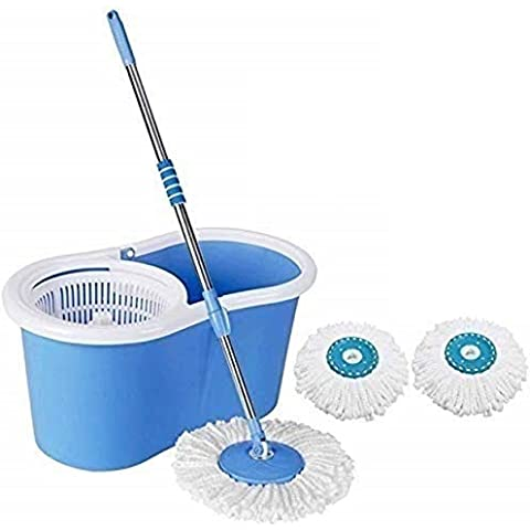 Mop'n'me Microfiber 2 Refill 360° Spin Bucket Mop with Wheel to Easy Moving (Medium, Blue)