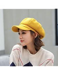 OWAXHWD Sombreros de Mujer Gorra Octogonal Mujer Otoño Boina Pato Lengua Pintor  Sombrero Otoño e Invierno Salvaje Sección… 8e93cc96d45
