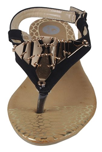 Chic Nora, Scarpe con cinturino alla caviglia donna Dreieck - Gold - Schwarz