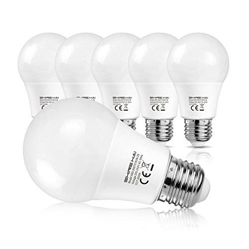 SHINE HAI Bombillas LED E27 A60, Equivalente a 60w, 8W A60 800LM, Blanca Neutra 4000K, No Regulable, 6 Unidades