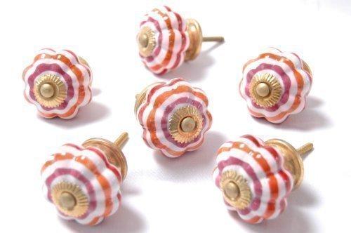 pastel-couleur-rouge-orange-a-anneaux-ceramique-poignees-de-placard-45mm-x-paquet-6-mt-04-x-6
