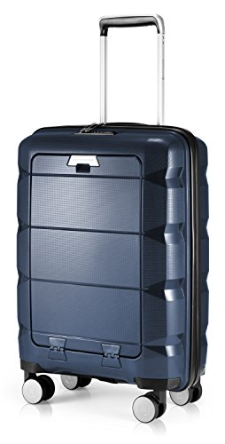 HAUPTSTADTKOFFER - Britz - Bagaglio a mano con scomparto per laptop, trolley cabina valigia rigida leggera, TSA, 4 ruote, 55 cm, 34 L, Blu scuro