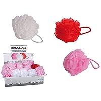6De Baño knäuel 12cm de baño esponjas, por 2en rosa, rojo y blanco