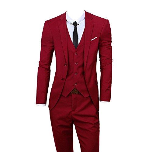 GEORGE BRIDE Herren Abendanzug Jacke Anzüge 3-Teilig Anzug Jacke Weste und Hose,XL,Red