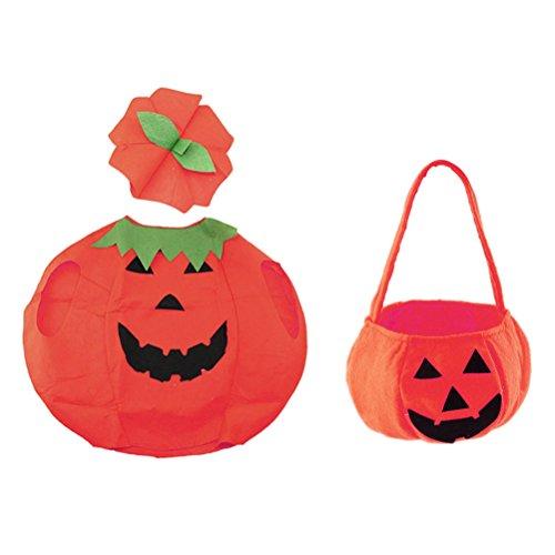 Tinksky Kinder Kürbis Kostüm Anzug Kürbis Eimer Halloween Foto Booth Stütze Dress Up Kleidung mit (Ein Kostüm Kürbis)