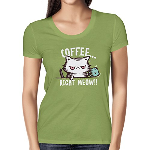 NERDO - Coffee right Meow - Damen T-Shirt, Größe XL, kiwi