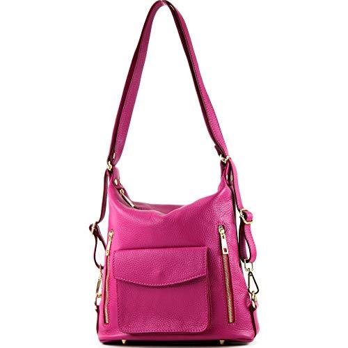 modamoda de - T174 - ital Damen Rucksack Tasche aus Leder, Farbe:Pink