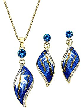 NEOGLORY Schmucksets (Ohrringe Kette) Swarovski Elements Kristall 14K Gold Blatt Blau