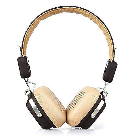 OneOdio Faltbar Wireless Bluetooth 4.1 Kopfhörer HD Mic / Klarer Bass Sound für iPhone iPad Samsung iPod Android Laptops PC Bügelkopfhörer Weiche Atmungsaktive Ohrmuscheln Elegant Headset (Braun Beige)