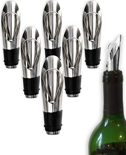 HomeTools.eu - 6X Flaschen Ausgießer | Wein-Flaschen, Schnaps-Flaschen, Spirituosen, Getränke | Haus-Bar, Restaurant, Gastronomie, Disko, Küche | Edelstahl, Gummi-Dichtung, Verschluss | 6er Bar-Set