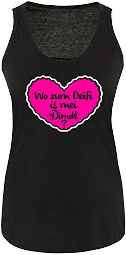 Luckja Wo zum Deifi is mei Dirndl Damen Tanktop Schwarz/Weiss/Pink